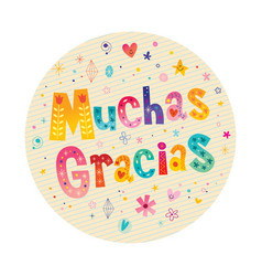 muchas gracias many thanks in spanish vector image