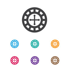 Of gambling symbol on roulette vector