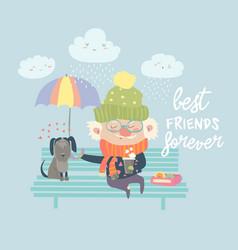 Old man with dog under umbrella vector