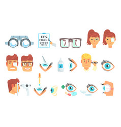 Ophthalmologist diagnostic set treatment and vector