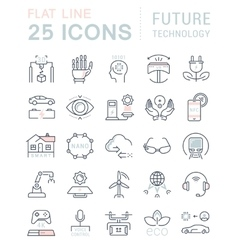 Set Flat Line Icons Future Technology vector image vector image
