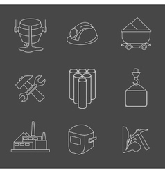 set of heavy industry line icons vector image vector image