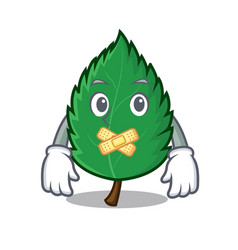 Silent mint leaves mascot cartoon vector