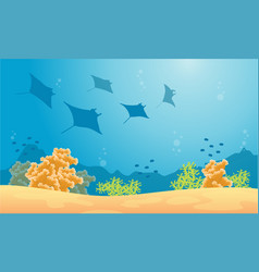 Silhouette of stingray and fish sea landscape vector
