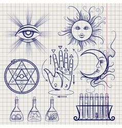 Sketch of isoteric and alchemy elements vector image vector image