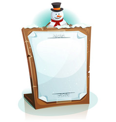 Snowman holding christmas background vector