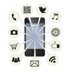 Social smart phone vector image