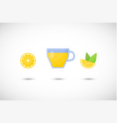 tea with lemon flat icon set vector image