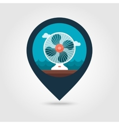 Ventilator pin map icon summer vacation vector