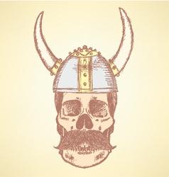 Viking helmet skull vector