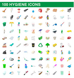 100 hygiene icons set cartoon style vector image