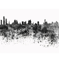 Panama city skyline in black watercolor on white vector