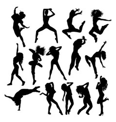 Happy hip hop silhouettes vector