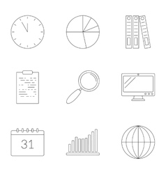 Business planning icons set outline style vector