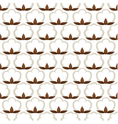 Seamless pattern with cotton bolls stylized vector