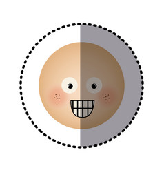 Sticker human face emoticon surprised expression vector