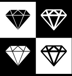 Diamond sign   black and white vector