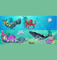 cartoon underwater life horizontal banners vector image