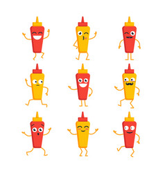 Ketchup and mustard- set of mascot vector