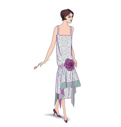 Retro stylish cocktail dressed girl in 1930s vector
