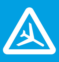 warning sign of low flying aircraft icon white vector image