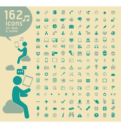 162 basic icons retro color vector