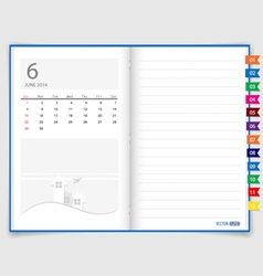 2014 calendar on notebook paper june vector