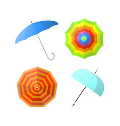 set of colorful umbrellas from different angles vector image