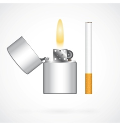Lighter and cigarette vector