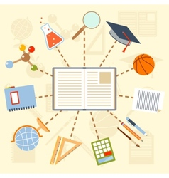 School supplies and tools around the book on a vector