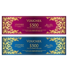 Luxury magenta and blue voucher with vintage vector