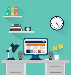 Flat design concept of workspace with computer and vector