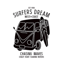 Surfing print vector