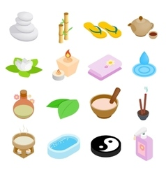 Spa isometric 3d icons set vector