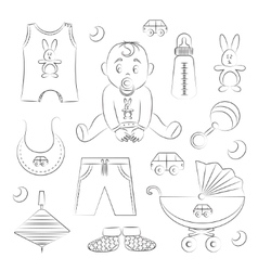 Baby boy design icons vector