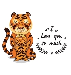 Cute tigers with text i love you so vector