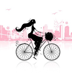 Girl with floral bouquet cycling in the city vector