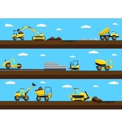 Construction process bulldozer truck and vector