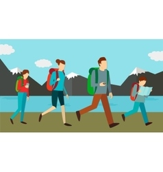 Family weekend outdoors vector