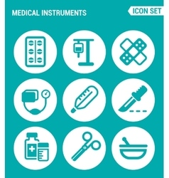 Set of round icons white medical instruments vector