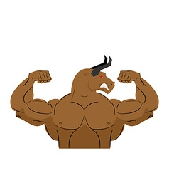 Angry bull strong athlete aggressive fitness vector