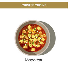 Chinese cuisine mapo tofu traditional dish food vector