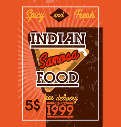 Color vintage indian food banner vector