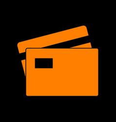 Credit card sign orange icon on black background vector
