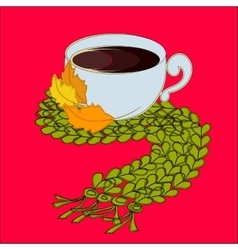 Cup of coffee and green scarf vector image