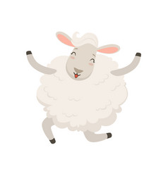 Cute happy white sheep character jumping vector