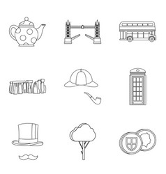 England icons set outline style vector