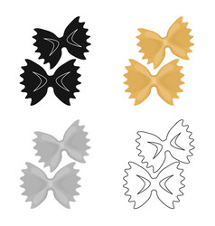 Farfalle icon pasta in cartoon style isolated on vector