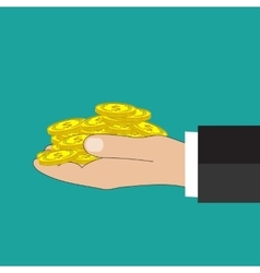 Flat background with hand and money vector