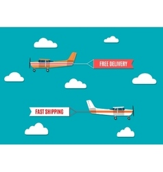 Flying advertising banners pulled by light plane vector